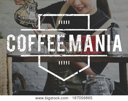 Coffee Mania Love Lifestyle Word Stamp Banner Graphic