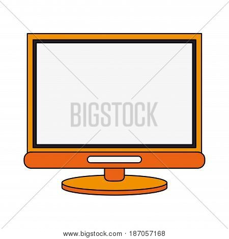 color image cartoon front view computer display with base vector illustration