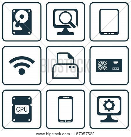 Set Of 9 Computer Hardware Icons. Includes Smartphone, File Scanner, Cpu And Other Symbols. Beautiful Design Elements.