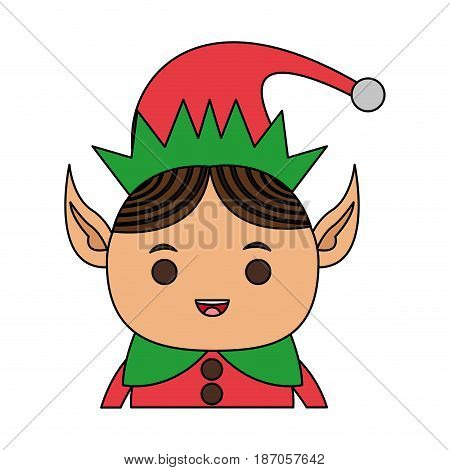 color image cartoon half body christmas elf with long ears vector illustration