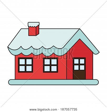 color image cartoon christmas house with snow and chimney vector illustration
