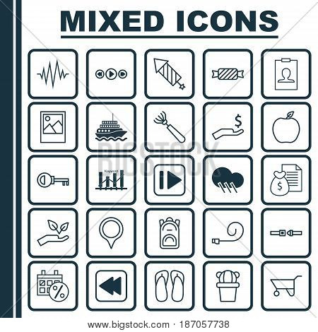 Set Of 25 Universal Editable Icons. Can Be Used For Web, Mobile And App Design. Includes Elements Such As Rewind Back, Password, Safety Belt And More.