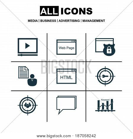 Set Of 9 Marketing Icons. Includes Conference, Coding, Keyword Marketing And Other Symbols. Beautiful Design Elements.
