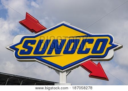 Indianapolis - Circa May 2017: Logo and Signage of Sunoco Fuels on the IMS Infield. Sunoco is a Subsidiary of Energy Transfer Partners VII