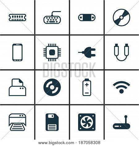 Set Of 16 Computer Hardware Icons. Includes Dynamic Memory, Blank Cd, Printed Document And Other Symbols. Beautiful Design Elements.