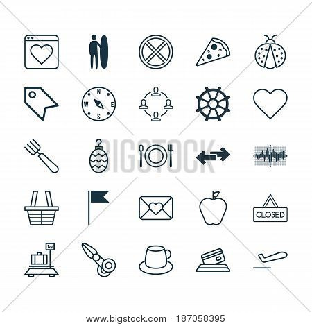 Set Of 25 Universal Editable Icons. Can Be Used For Web, Mobile And App Design. Includes Elements Such As Shop, Airliner Takeoff, Christmas Toy And More.