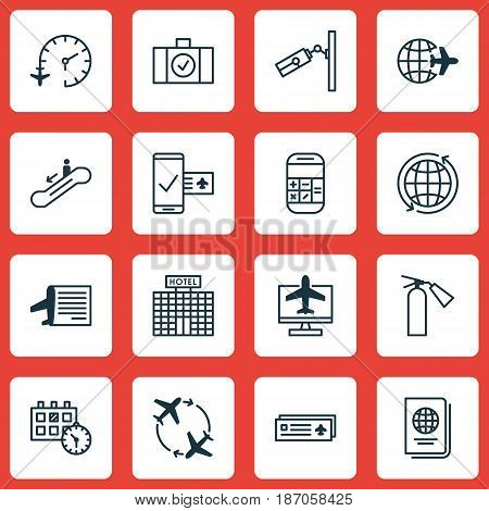 Set Of 16 Traveling Icons. Includes Timetable, Luggage Scanner, Worldwide Flight And Other Symbols. Beautiful Design Elements.