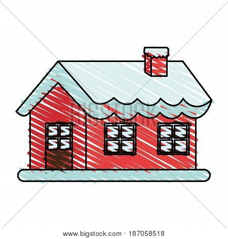 color crayon stripe cartoon christmas house with snow and chimney vector illustration
