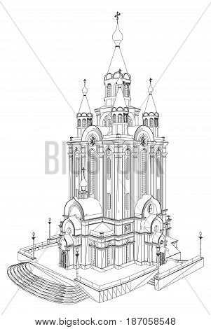 Church Building Perspective View Isolated Illustration Vector