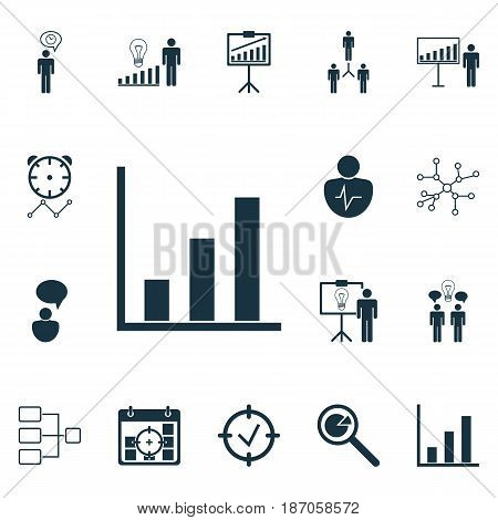 Set Of 16 Management Icons. Includes Conversation, Bar Chart, Group Organization And Other Symbols. Beautiful Design Elements.