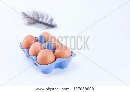 Small Blue Tray Of Eggs And A Dark Feather Isolated On White Background. Six Eggs.