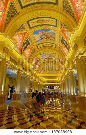 MACAU, CHINA- MAY 11, 2017: Inside of a beautiful luxury hotel the Venetian Resort Hotel and Casino.