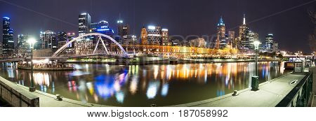 Melbourne night life panorama view one of the most liveable city in the world, Victoria state of Australia.