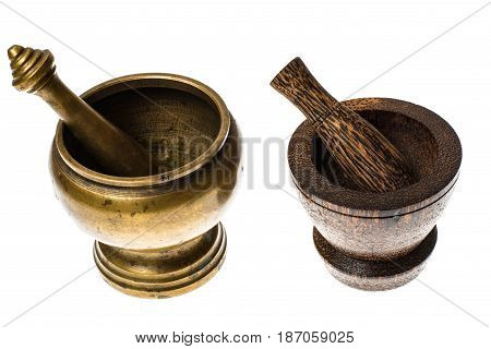 Mortar for grinding spices and herbs on white background. Studio Photo