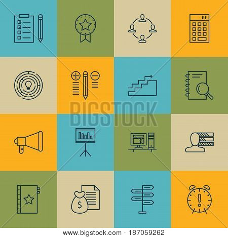 Set Of 16 Project Management Icons. Includes Collaboration, Analysis, Warranty And Other Symbols. Beautiful Design Elements.