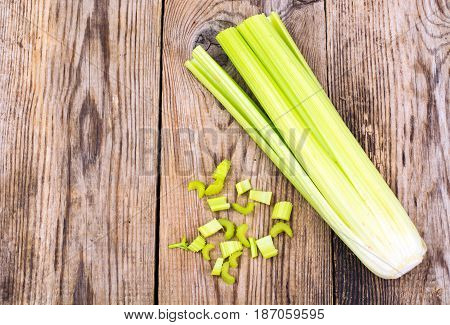Bunch of stalks of celery. Studio Photo