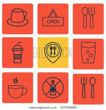 Set Of 9 Food Icons. Includes Tea, No Drinking, Soda Drink And Other Symbols. Beautiful Design Elements.