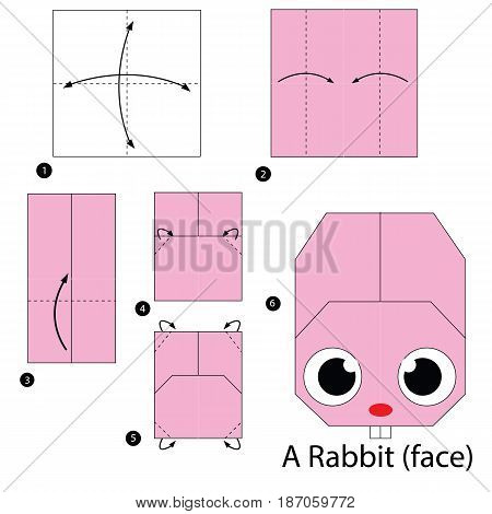 step by step instructions how to make origami a Rabbit.
