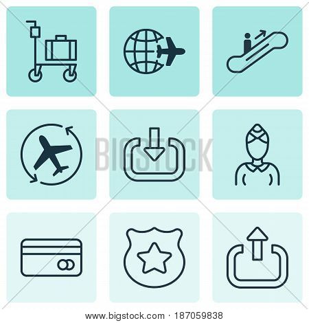 Set Of 9 Traveling Icons. Includes Moving Staircase, Worldwide Flight, Plastic Card And Other Symbols. Beautiful Design Elements.