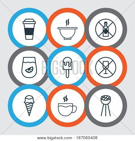 Set Of 9 Eating Icons. Includes No Drinking, Lolly, Bowl And Other Symbols. Beautiful Design Elements.