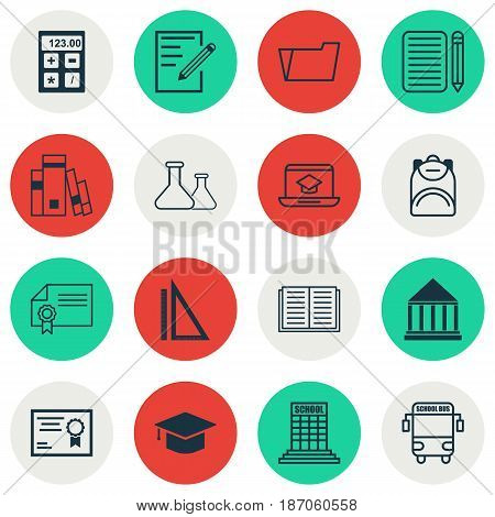 Set Of 16 School Icons. Includes Library, Transport Vehicle, Haversack And Other Symbols. Beautiful Design Elements.