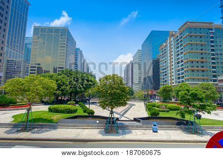 Beautiful park in city center of Macau Cina in a gorgeous blue sky, beautiful day.