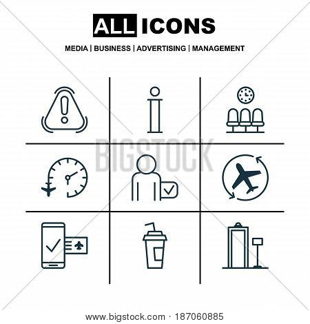 Set Of 9 Transportation Icons. Includes Siren, Aircraft Arrow, Seats And Other Symbols. Beautiful Design Elements.
