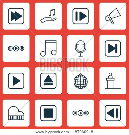 Set Of 16 Music Icons. Includes Octave, Dance Club, Bullhorn And Other Symbols. Beautiful Design Elements.