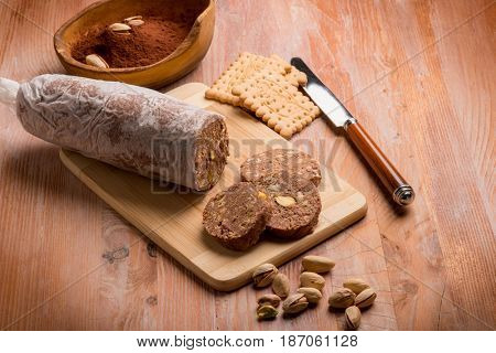 chocolate sausage with pistachio