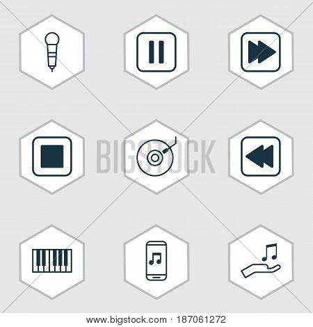 Set Of 9 Audio Icons. Includes Stop Button, Gramophone, Piano And Other Symbols. Beautiful Design Elements.