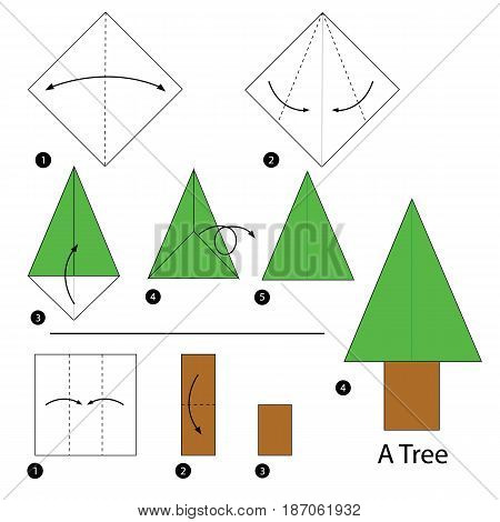 step by step instructions how to make origami a tree.