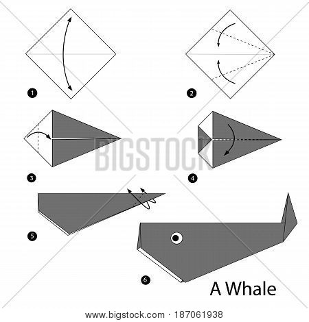 step by step instructions how to make origami a whale.