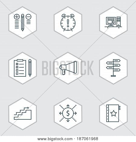 Set Of 9 Project Management Icons. Includes Warranty, Reminder, Computer And Other Symbols. Beautiful Design Elements.