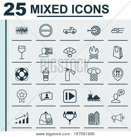 Set Of 25 Universal Editable Icons. Can Be Used For Web, Mobile And App Design. Includes Elements Such As Personal Skills, Successful Investment, Media Campaign And More.
