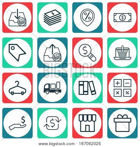 Set Of 16 E-Commerce Icons. Includes Bookshelf, Peg, Price Stamp And Other Symbols. Beautiful Design Elements.