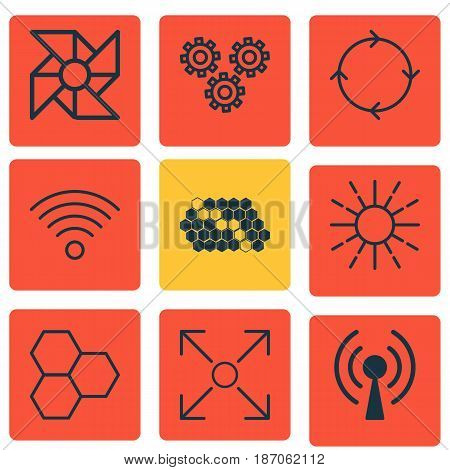 Set Of 9 Artificial Intelligence Icons. Includes Hive Pattern, Mechanism Parts, Laptop Ventilator And Other Symbols. Beautiful Design Elements.