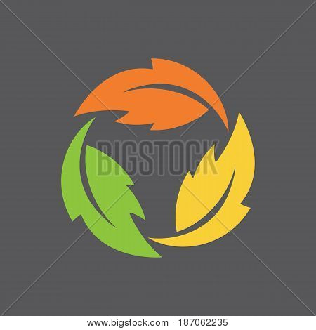 Leaf Infinity Symbol Stylized vector illustration three leaves in a rotating, never-ending circle.
