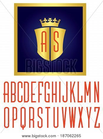 Crown and Shield Logo Vector illustration royal emblem with monogram initials. Includes full alphabet of custom letters for initials.