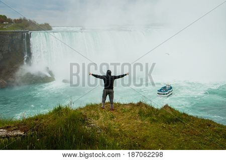 The man above the Niagara Falls, Ontario, Canada