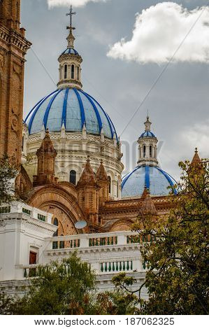 The Blue roof cathedral as a dominant of town of Cuenca, Ecuador