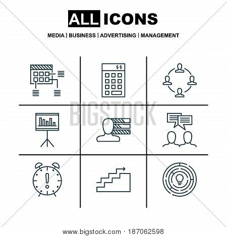 Set Of 9 Project Management Icons. Includes Personal Skills, Collaboration, Schedule And Other Symbols. Beautiful Design Elements.
