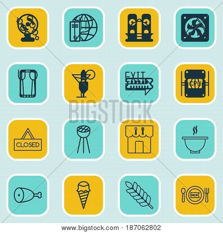 Set Of 16 Eating Icons. Includes Wheat, Fresh Dining, Stick Batbecue And Other Symbols. Beautiful Design Elements.