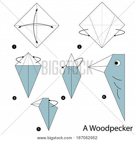 step by step instructions how to make origami a Woodpecker.