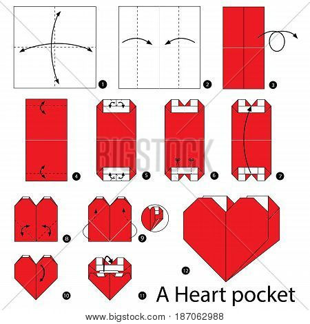 step by step instructions how to make origami A Heart pocket.