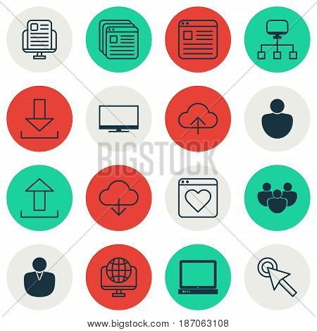 Set Of 16 Web Icons. Includes Blog Page, Human, Account And Other Symbols. Beautiful Design Elements.