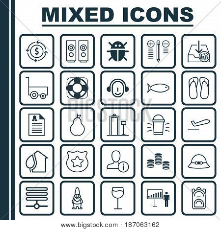 Set Of 25 Universal Editable Icons. Can Be Used For Web, Mobile And App Design. Includes Elements Such As Money Recycle, Profile Data, Fishing And More.