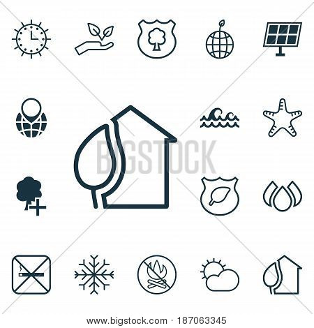 Set Of 16 Eco-Friendly Icons. Includes Cigarette, Save World, Aqua And Other Symbols. Beautiful Design Elements.