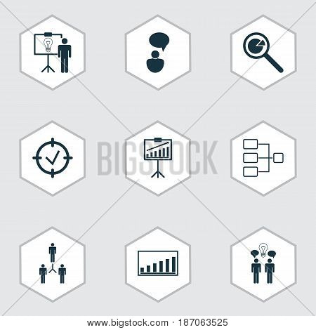 Set Of 9 Executive Icons. Includes Opinion Analysis, Report Demonstration, Company Statistics And Other Symbols. Beautiful Design Elements.