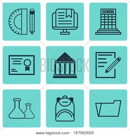 Set Of 9 Education Icons. Includes Paper, Certificate, Academy And Other Symbols. Beautiful Design Elements.