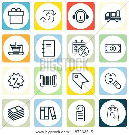 Set Of 16 Ecommerce Icons. Includes Price Stamp, Delivery, Bookshelf And Other Symbols. Beautiful Design Elements.